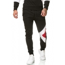 Mens Casual Geometric Pattern Mid-Rised Sweatpants Sports Trousers with Drawstring