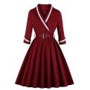 Vintage Female Long Sleeve Surplice Neck Buckle Belted Zip Back Midi Plain Wrap Pleated Flared Dress