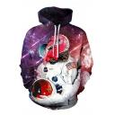 Fancy Animal Spaceman Universe Galaxy 3D Pattern Long Sleeve Purple Drawstring Hoodie
