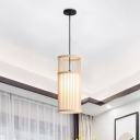Beige/Coffee Cylinder Pendant Lamp Modern 1 Light Bamboo Hanging Light Fixture for Living Room