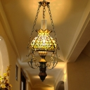 Petal Stained Glass Hanging Pendant Light Tiffany 1 Light Green Suspension Lighting