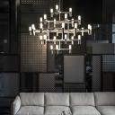 Tiered Chandelier Lamp Metal 30 Lights 47