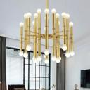 Flute Chandelier Light Mid Century Modern Metal Ceiling Light Fixture for Living Room