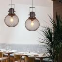 Globe Dining Room Hanging Pendant Lighting Fixture Vintage 1 Light Black Hanging Ceiling Light