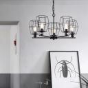 5 Lights Metal Chandelier Lamp Vintage Black Caged Living Room Ceiling Light Fixture