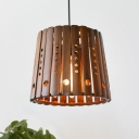 Bamboo Conical Hanging Ceiling Light Asia 1 Light Suspension Pendant in Brown for Dining Room