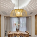 1 Light Dining Room Ceiling Light Modern Beige Pendant Lamp with Dome Bamboo Shade