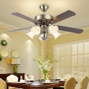Bloom Dining Room Ceiling Fan Traditional Mouth Blown Opal Glass 5 Bulbs Silver Semi Flush Mount Light Fixture