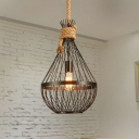 Metal Teardrop Ceiling Lamp Countryside 1 Head Restaurant Suspension Pendant Light in Black