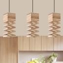 Wood Laser Cut Pendant Lighting Modernism 1 Bulb Beige Hanging Light Fixture for Dining Room