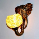 1 Light Outdoor Sconce Light Tiffany Silver/Yellow Wall Lighting with Bubble Stained Glass Shade