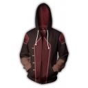 Hot Anime Cosplay Costume Colorblock Patch Long Sleeve Zip Up Brown and Red Hoodie