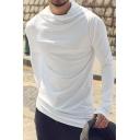 Designer Plain Cowl Neck Long Sleeves Irregular Hem Slim Fit Hooded T-Shirt for Men