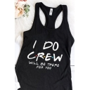 Fancy Letter I'M THE BRIDE I DO CREW Printed Sleeveless Racer Back Casual Tank Top