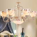 Baroque Domed Chandelier Lighting Fixture 3/5/9 Lights Stained Glass Hanging Pendant in White for Living Room