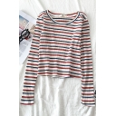 Casual Popular Long Sleeve Round Neck Stripe Printed Fitted Tee for Women