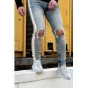 Men's Leisure Daily Wear Knee Cut Side Tape Zipper Cuff Ripped Wash Faded Jeans