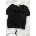 Formal Plain Short Sleeve V-Neck Drawstring Slim Fit T Shirt for Girls