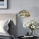 Mushroom Ceiling Lighting Contemporary Smoked Glass LED Bedroom Hanging Pendant Light