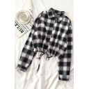 Trendy Ladies' Long Sleeve Lapel Collar Button Down Drawstring Hem Plaid Pattern Relaxed Shirt