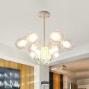 White 12 Heads Ceiling Chandelier Modern Global Hanging Pendant Light with Clear Glass Shade