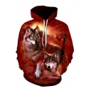 Men's Casual Wolves 3D Pattern Long Sleeves Loose Fit Red Pullover Hoodie