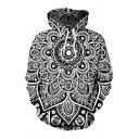 Newest Unique Datura Digital Printing Long Sleeves Black and White Pullover Hoodie