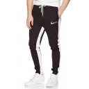 Creative Logo Stripe Printed Drawstring Waist  Slim Fit Sports Pants for Men