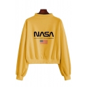Womens Casual Flag Letter NASA Print Long Sleeve Mock Neck Pullover Sweatshirt