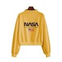 Womens Casual Flag Letter NASA Print Long Sleeve Mock Neck Pullover Sweatshirt