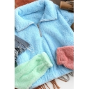 Winter Stylish Colorblocked Long Sleeve Half-Zip Lapel Collar Fuzzy Plush Blue Crop Sweatshirt