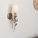 1 Bulb Wall Light Sconce Traditional Living Room Wall Lighting Fixture with Cone Fabric Shade in Nickle
