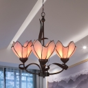 3/5 Lights Chandelier Light Fixture Tiffany-Style Bloom Pink/Purple Glass Suspension Pendant for Dining Room