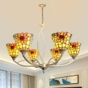 White Arched Chandelier Light Tiffany 6/8 Bulbs Handcrafted Stained Glass Down Lighting Pendant for Living Room