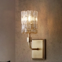 Cylinder Living Room Sconce Light Vintage Clear/Amber Crystal 1 Light Wall Lighting Fixture with Rectangle Backplate