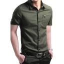 Summer Popular Solid Color Short Sleeves Slim Fit Button Up Men's Cotton Shirt