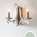 Beaded Living Room Sconce Light Rustic Clear Crystal 1/2 Lights Wall Lighting Fixture in Silver