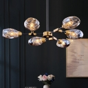 Cup Hanging Chandelier Modern Dimpled Blown Glass 6 Heads Black-Gold Ceiling Pendant Light