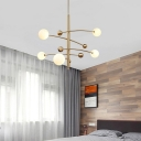 White Glass Orb Chandelier Lighting Contemporary 5 Heads Hanging Pendant Light in Gold