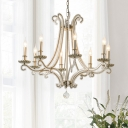 Crystal Silver Chandelier Pendant Light Candle-Style 3/6/8 Lights Traditional Suspension Lamp for Living Room