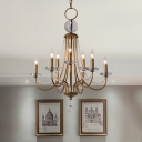 Candelabra Metal Chandelier Traditional Style 9/12 Lights Living Room Hanging Pendant Light in Brass