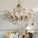 Swooping Arm Crystal Ceiling Chandelier Rustic 6/8/10 Lights Hanging Lamp Kit in Brass for Dining Room