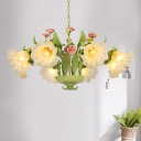 6/8 Bulbs Sandblasted Glass Chandelier Traditionalism Green Floral Bedroom Pendant Lighting Fixture