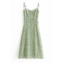 Fancy Green Popular Sleeveless Bow Tie Strap All Over Floral Print Pleated Midi A-Line Cami Dress for Ladies