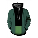 Fashionable Pirate Skull 3D Printed Long Sleeve Oversized Drawstring Hoodie in Dark Green