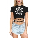 Unique STAY WEIRD Letter Moon Phase Hand Skeleton Print Short Sleeves Tied Hem Black Fitted Tee