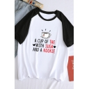 Stylish Letter A CUP OF TEA WITH SUGAR AND A KOOKIE Raglan Short Sleeve Round Neck Loose Tee