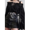 Black Chic Stringy Selvedge Pleated Off Shoulder Long Sleeve Lace-Up Front Crop T-Shirt Top