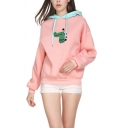 Lovely Cartoon Dinosaur Pattern Long Sleeve Color-Block Drawstring Hoodie in Pink