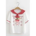 Preppy Fashion Plaid Sailor Collar Strawberry Cat Claw Pattern Short Sleeve White and Red T-Shirt